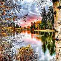 Woodland Lake Sunset Diamond Painting Kit