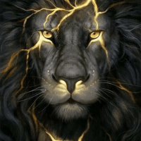 Black Lightning Lion Diamond Painting Kit