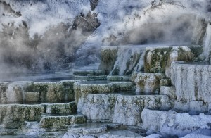 This is my favorite shot of the steamy Mammoth Hot Springs formations in Yellowstone. I absolutely love the color, the steam and the snow. This photo is an HDR to capture the feel of the mineral formations.
