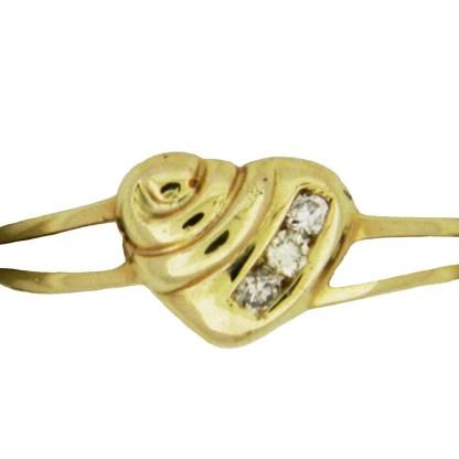 Yellow Gold Heart with Diamonds Custom Ring