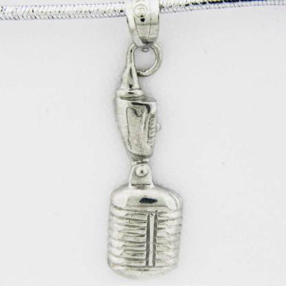 White Gold Microphone Pendant (flat design)