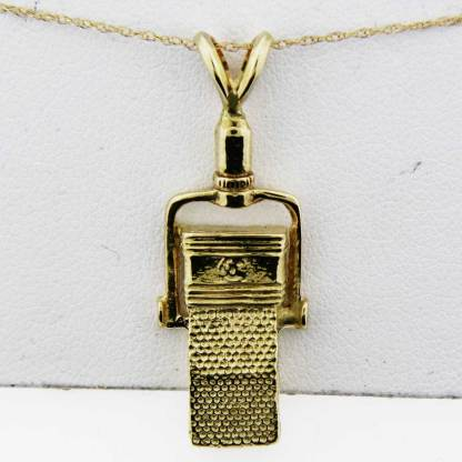 Yellow Gold Microphone Pendant (square)