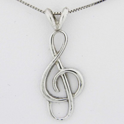 White Gold Treble Clef Pendant (dainty smooth)