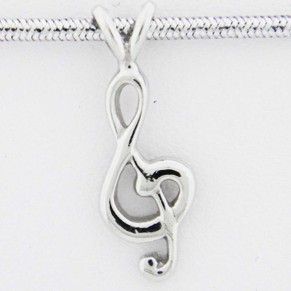 White Gold Treble Clef Pendant (rounded)