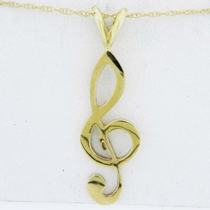 Yellow Gold Treble Clef Pendant (smooth)