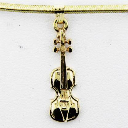 Yellow Gold Violin Pendant