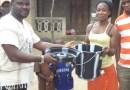 handing over sanitary materials