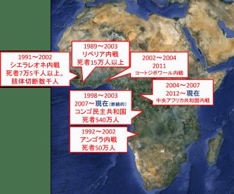 ダイヤモンドを資金源とするアフリカの主な内戦