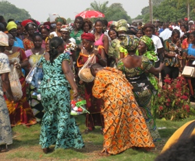 Happy Family Members performing the usual traditional dance outside BWI graduational Hall