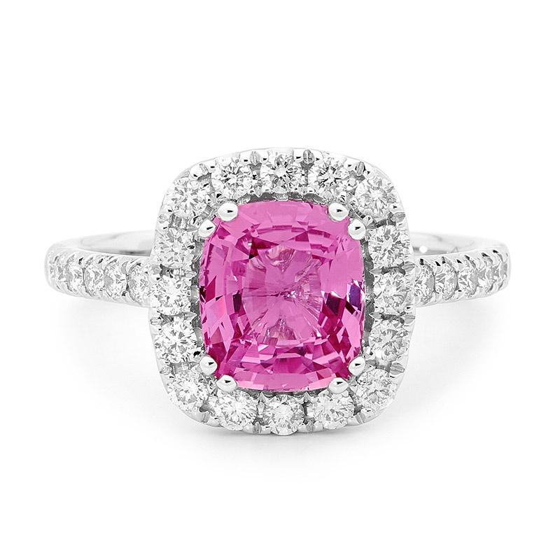 Pink Sapphire Halo Ring Round Brilliant Cut Diamonds Intl