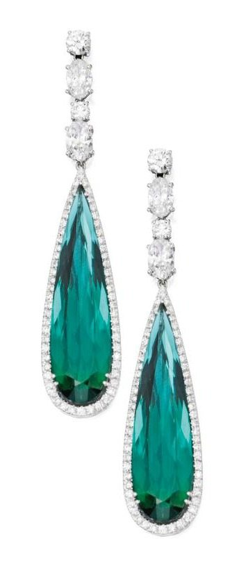 White gold, green tourmaline and diamond pendant-earrings. Via Diamonds in the Library.