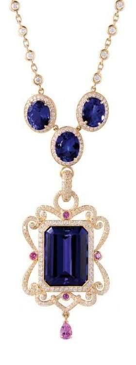 Aurora pendant by Erica Courtney. Tanzanite with pink sapphires and diamonds in rose gold.