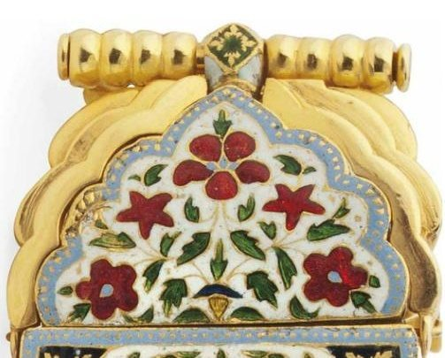 Detail; a fine enameled gold armband bazuband, North India, 19th century and later.