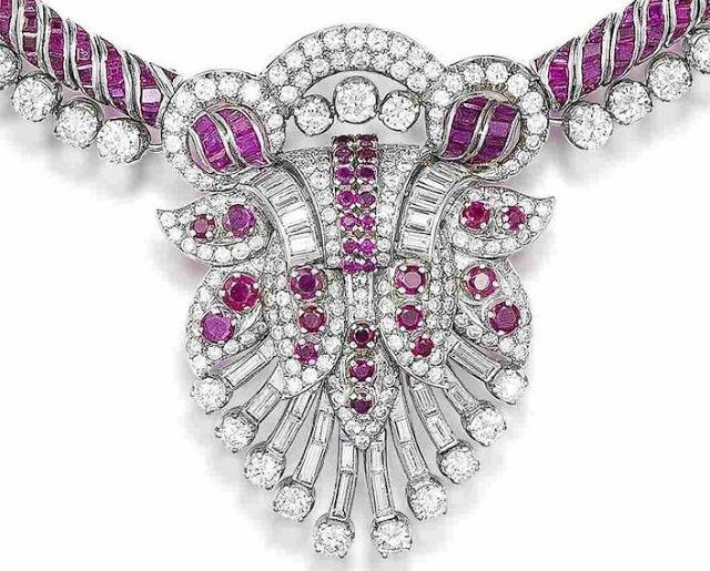 Detail of a ruby and diamond necklace, circa 1965. Via Diamonds in the Library.