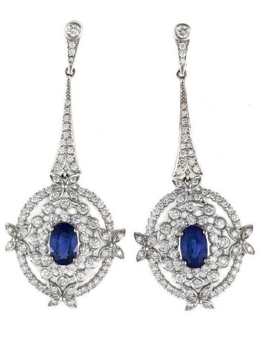 Sapphire and diamond earrings. Via Diamonds in the Library.