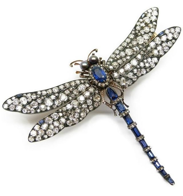 Sapphire, pearl, and diamond tremblant dragonfly brooch, circa 1895. Via Diamonds in the Library.