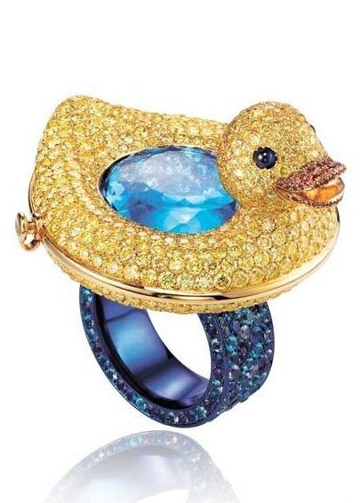 Yellow diamond and multi-gem-set duckie ring, by Chopard. Via Diamonds in the Library.