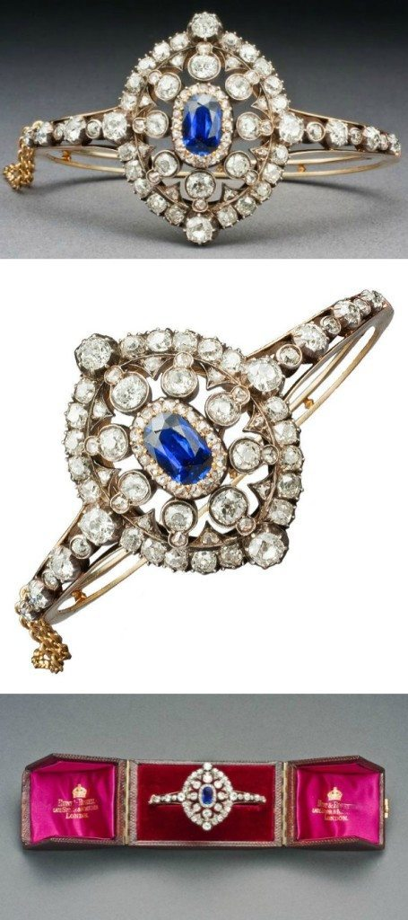 A Hunt & Roskell sapphire and diamond bracelet; Victorian, circa 1880. Old European-cut and rose-cut diamonds. Converts to a brooch.