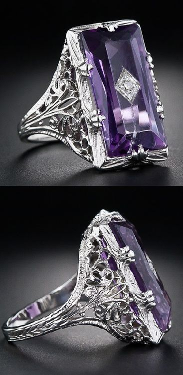 A beautiful vintage amethyst and diamond filigree ring.