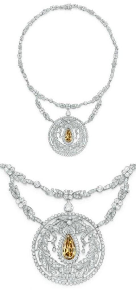 A stunning Belle Epoque colored diamond necklace, circa 1910.