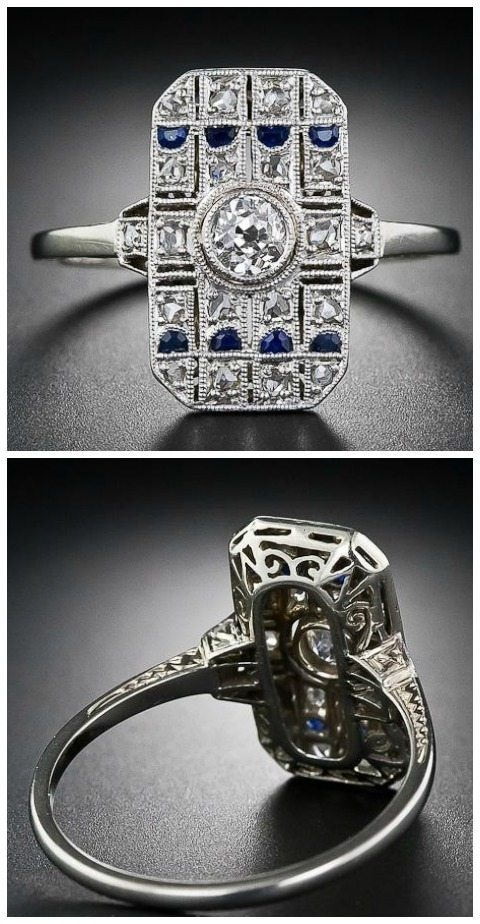 An early Art Deco diamond and sapphire dinner ring. Via Diamonds in the Library.