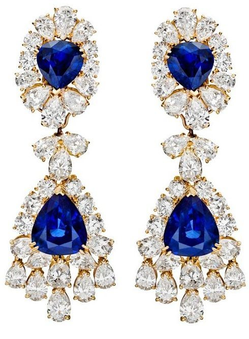 Fabulous Van Cleef & Arpels sapphire & diamond chandelier earrings.