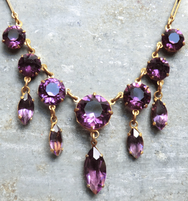Gorgeous 1920's Amethyst Glass Dangle Necklace