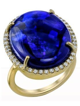 Irene Neuwirth Black Opal & Diamond Ring. Via Diamonds in the Library.
