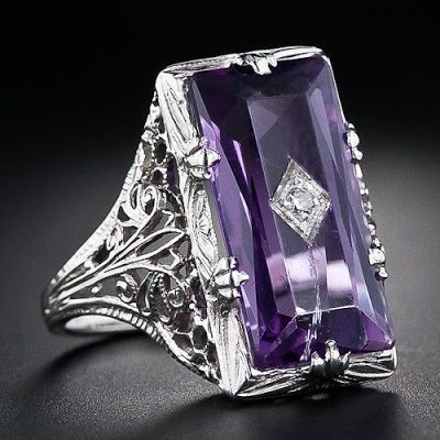 Vintage amethyst and diamond filigree ring; at Lang Antiques.