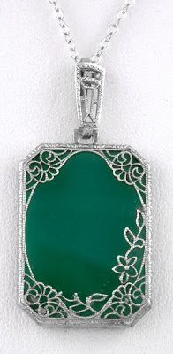 1920's Art Deco green glass and sterling silver filigree pendant and chain.