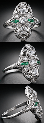 A beautiful antique Art Deco diamond calibre emerald dinner ring, circa 1930's. Via Diamonds in the Library.