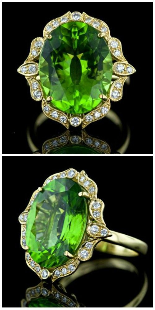 A beautiful peridot and diamond ring. At Lang Antiques.