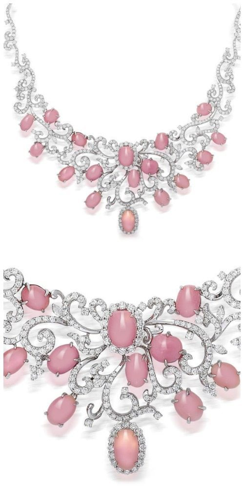 A pink conch pearl and diamond necklace.