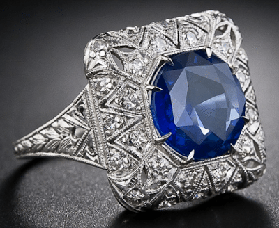 Alternate view; early Art Deco sapphire and diamond filigree ring. Via Diamonds in the Library.