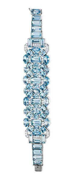 An Art Deco aquamarine and diamond bracelet by Cartier, circa 1930. Via Diamonds in the Library.