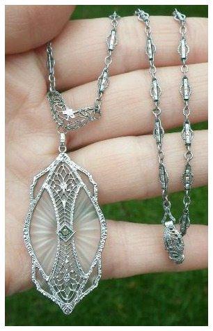 Antique Art Deco rhodium filigree and camphor glass necklace