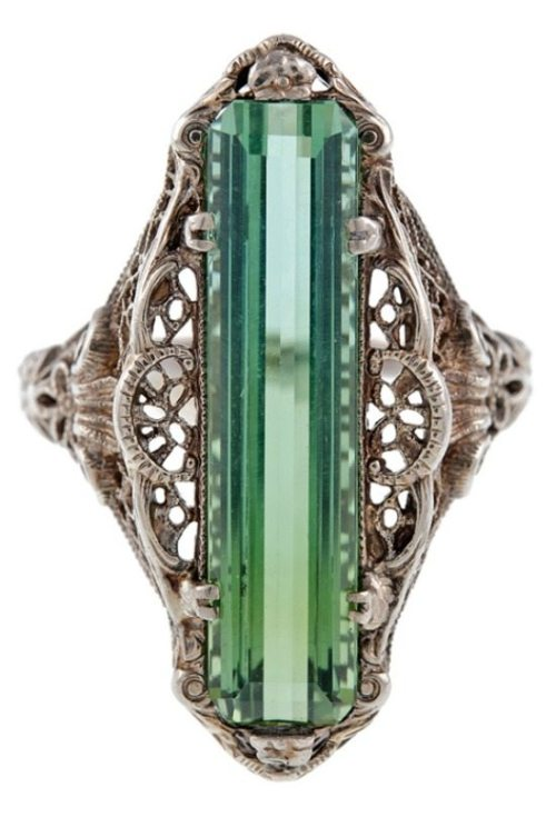 Front view: Antique green tourmaline filigree ring, circa 1880. Via Diamonds in the Library.