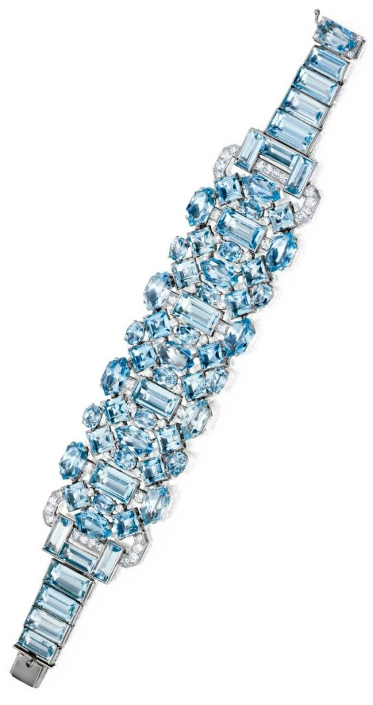 Art Deco aquamarine and diamond bracelet by Cartier, circa 1930. Via Diamonds in the Library.