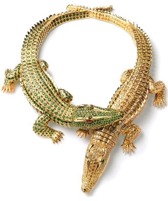 Crocodiles necklace, made to order by Cartier Paris for Maria Felix in 1975.