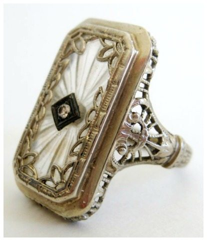 Antique Art Deco Fine 14k White Gold Filigree Camphor Glass Diamond Ring