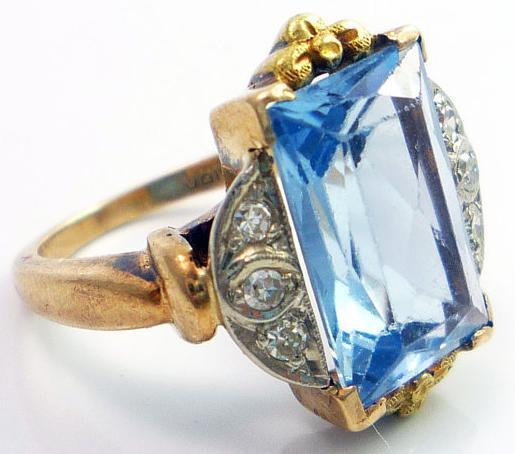 10K Art Deco blue zircon diamond cocktail ring. Via Diamonds in the Library.