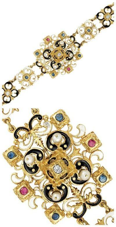 A Victorian enamel, diamond, gem-set and pearl bracelet, circa 1880. Via Diamonds in the Library.