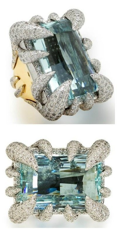 A diamond and aquamarine ring by Tony Duquette. Via Diamonds in the Library.