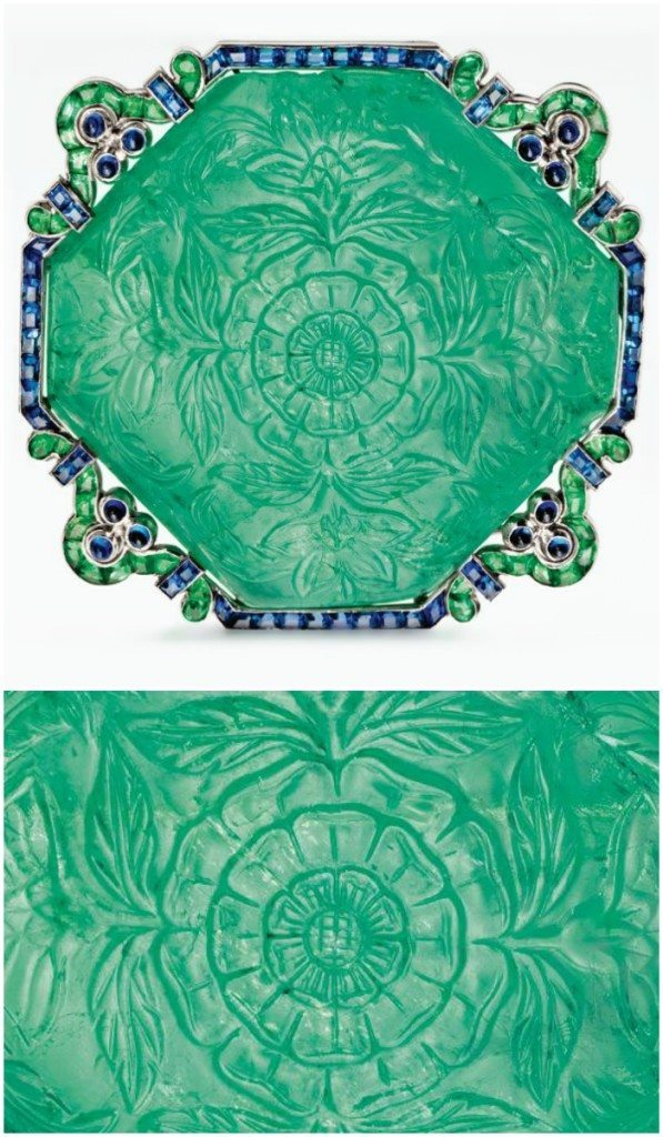 Antique Art Deco carved emerald and sapphire brooch by Cartier, circa 1920. Via Diamonds in the Library.