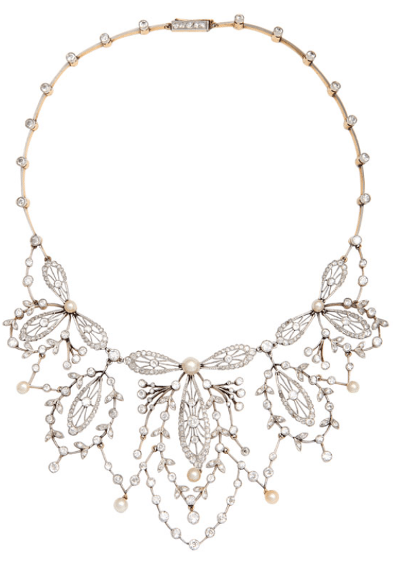 Antique diamond, pearl, platinum and gold necklace. Made in France, circa 1920. Via Diamonds in the Library.