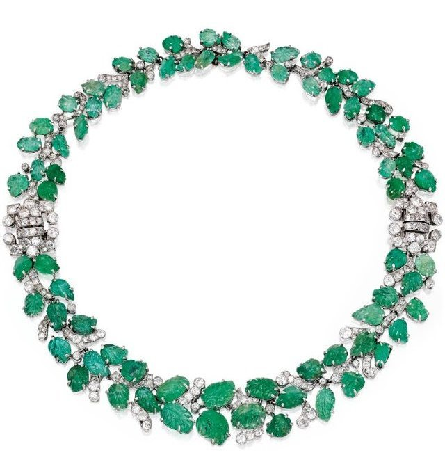 Art Deco emerald and diamond necklace and bracelet combination, circa 1930. Via Diamonds in the Library.