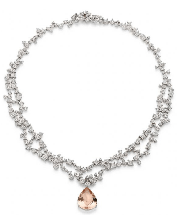 Brumani Sissi Collection morganite and diamond necklace. Via Diamonds in the Library.