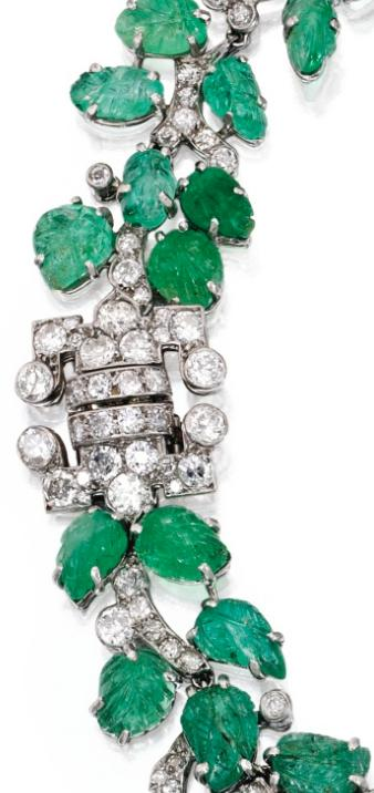 Detail; Art Deco emerald and diamond necklace and bracelet combination, circa 1930. Via Diamonds in the Library.