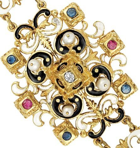 Detail; Victorian enamel, diamond, gem-set and pearl bracelet, circa 1880. Via Diamonds in the Library.