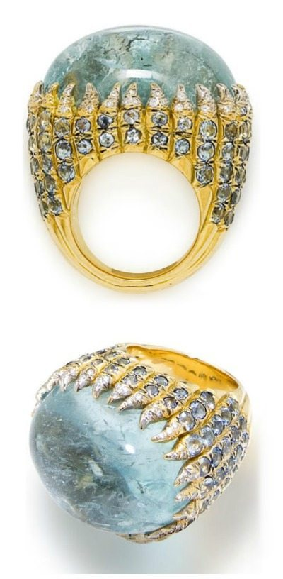 Diamond and aquamarine ring by Tony Duquette. Via Diamonds in the Library.